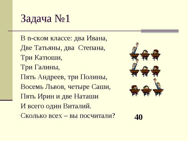 Задача №1 В n-ском классе: два Ивана, Две Татьяны, два Степана, Три Катюши, Т...