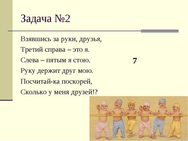 Задача №2 Взявшись за руки, друзья, Третий справа – это я. Слева – пятым я ст...