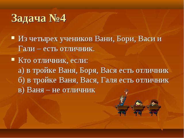 Задача №4 Из четырех учеников Вани, Бори, Васи и Гали – есть отличник. Кто от...