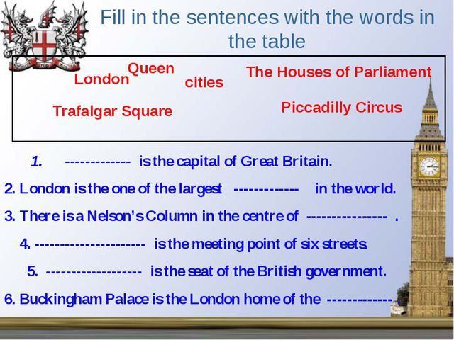 Fill in the sentences with the words in the table 1. ------------- is the cap...