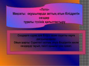 «Лото»  Мақсаты: оқушыларда заттың атын білідретін сөздер туралы түсінік