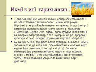 Икмәк игү тарихыннан... - Кыргый икмәкне моннан 15 мең еллар элек табигатьтән