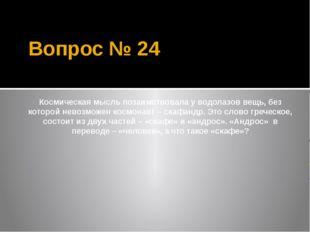 Вопрос № 24 Космическая мысль позаимствовала у водолазов вещь, без которой не