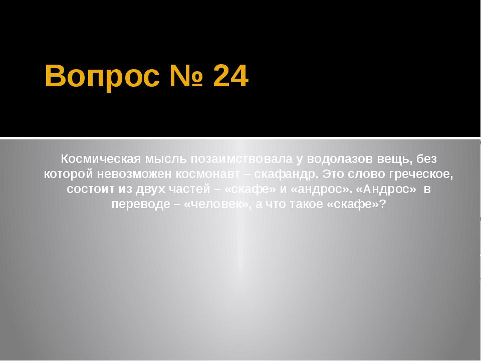 Вопрос № 24 Космическая мысль позаимствовала у водолазов вещь, без которой не...