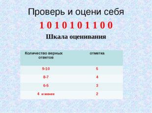Проверь и оцени себя 1 0 1 0 1 0 1 1 0 0 Шкала оценивания Количество верных о