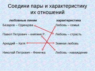 Соедини пары и характеристику их отношений любовные линии Базаров – Одинцова