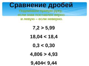 7,2 > 5,99 18,04 < 18,4 0,3 < 0,30 4,806 > 4,93 9,404< 9,44 7,040 = 7,04 Срав