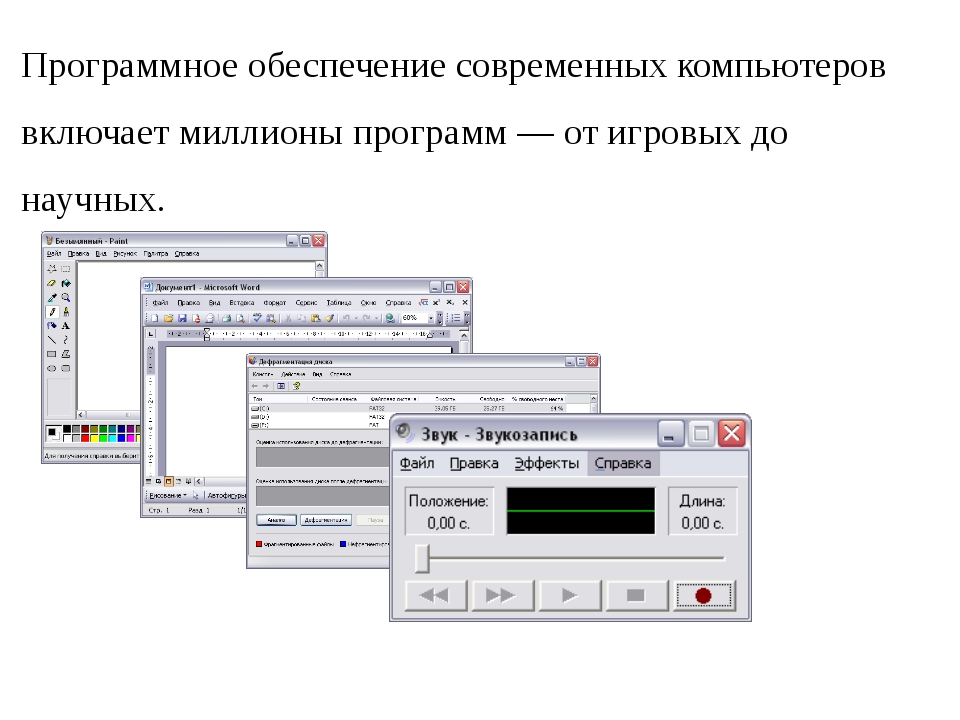 Программное обеспечение современных компьютеров включает миллионы программ —...