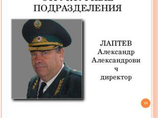 СТРУКТУРНЫЕ ПОДРАЗДЕЛЕНИЯ ЛАПТЕВ Александр Александрович директор *