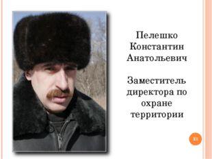 Пелешко Константин Анатольевич Заместитель директора по охране территории *