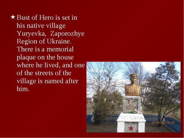 Bust of Hero is set in his native village Yuryevka, Zaporozhye Region of Ukra...