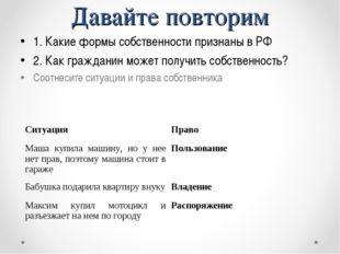 Давайте повторим 1. Какие формы собственности признаны в РФ 2. Как гражданин