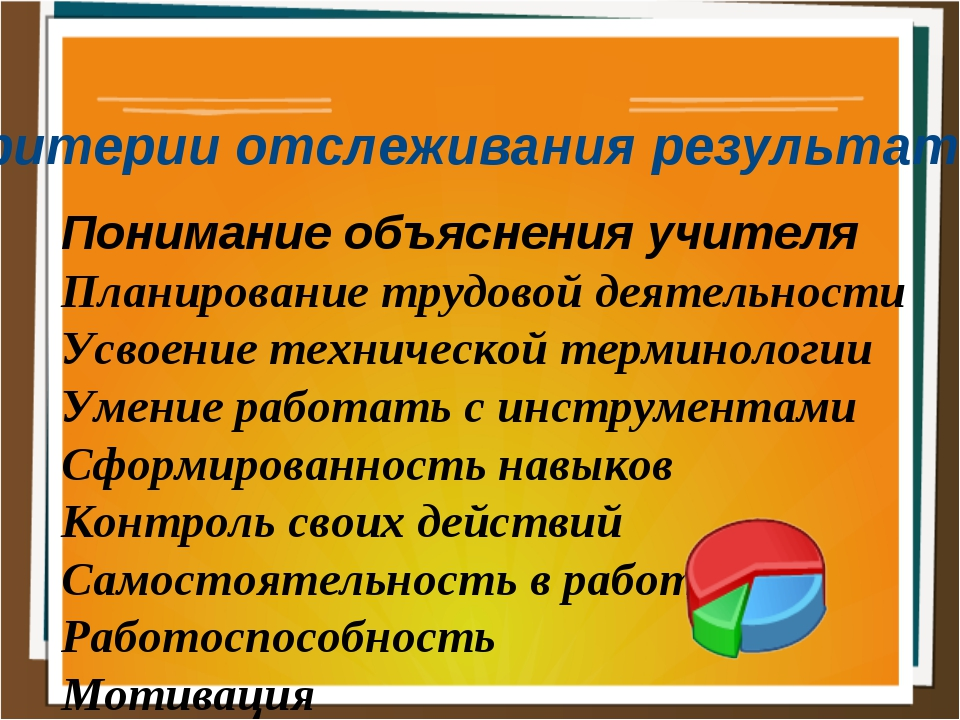 Критерии отслеживания результатов Понимание объяснения учителя Планирование т...