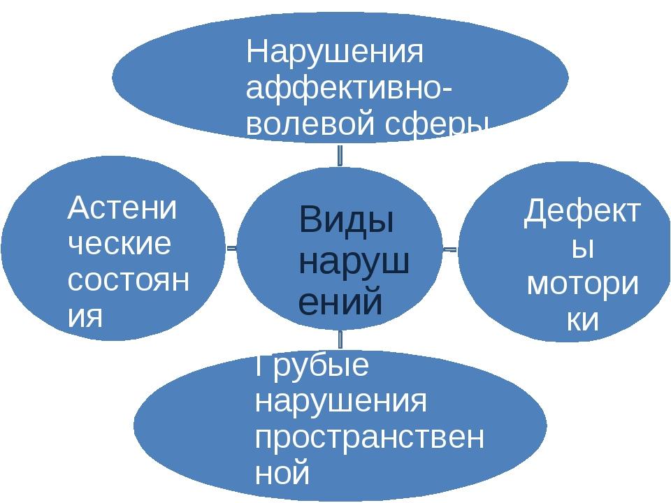 Виды нарушений Нарушения аффективно-волевой сферы Дефекты моторики Грубые нар...