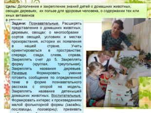 Цель: Дополнение изакрепление знаний детей о домашних животных, овощах дерев