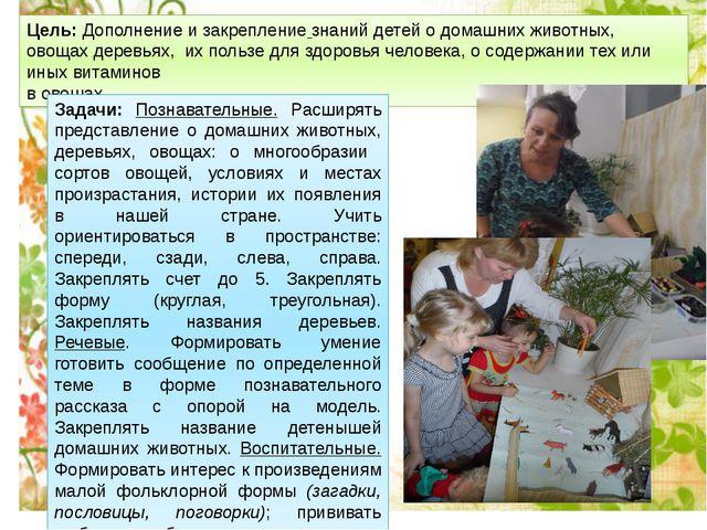 Цель: Дополнение изакрепление знаний детей о домашних животных, овощах дерев...