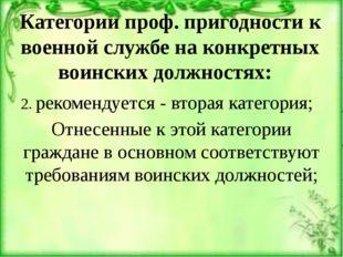 Категории проф. пригодности к военной службе на конкретных воинских должностя