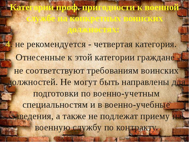 Категории проф. пригодности к военной службе на конкретных воинских должностя...