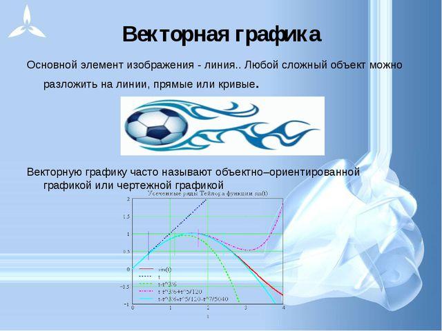 Векторная графика Основной элемент изображения - линия.. Любой сложный объект...