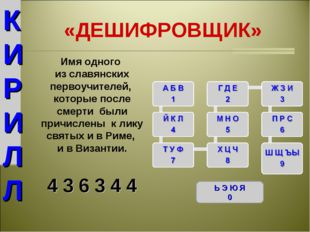 «ДЕШИФРОВЩИК» Ь Э Ю Я 0 Имя одного из славянских первоучителей, которые после