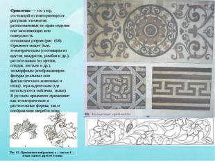 Орнамент — это узор, состоящий из повторяющихся рисунков-элементов, расположе