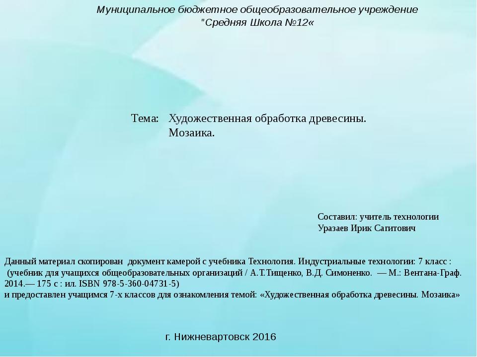 """Тема: Муниципальное бюджетное общеобразовательное учреждение """"Средняя Школа №..."""