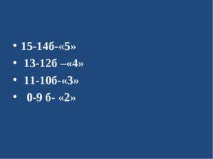 15-14б-«5» 13-12б –«4» 11-10б-«3» 0-9 б- «2»