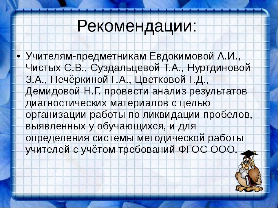 Рекомендации: Учителям-предметникам Евдокимовой А.И., Чистых С.В., Суздальцев...