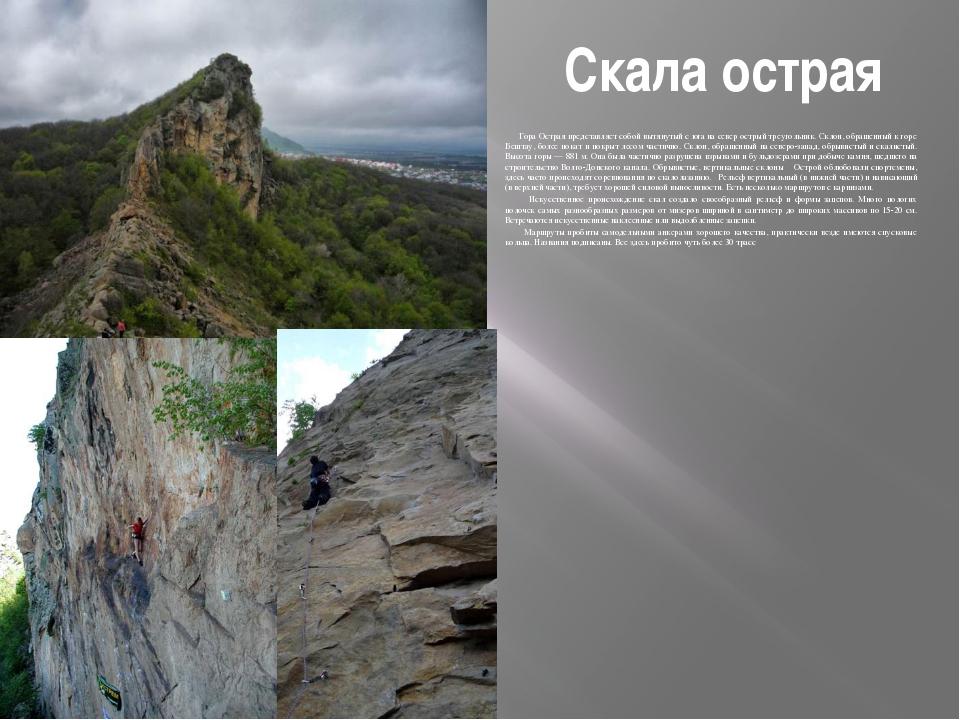 Скала острая Гора Острая представляет собой вытянутый с юга на север острый т...