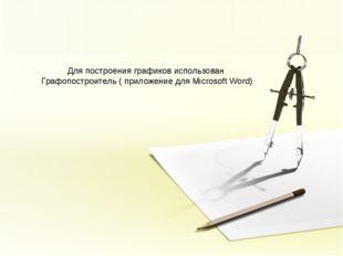 Для построения графиков использован Графопостроитель ( приложение для Microso