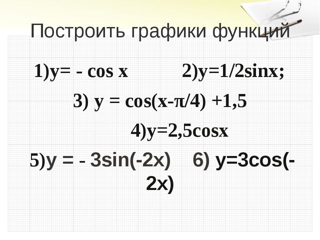 Построить графики функций 1)y= - cos x 2)y=1/2sinx; 3) y = cos(x-π/4) +1,5 4)...
