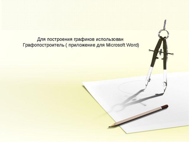 Для построения графиков использован Графопостроитель ( приложение для Microso...