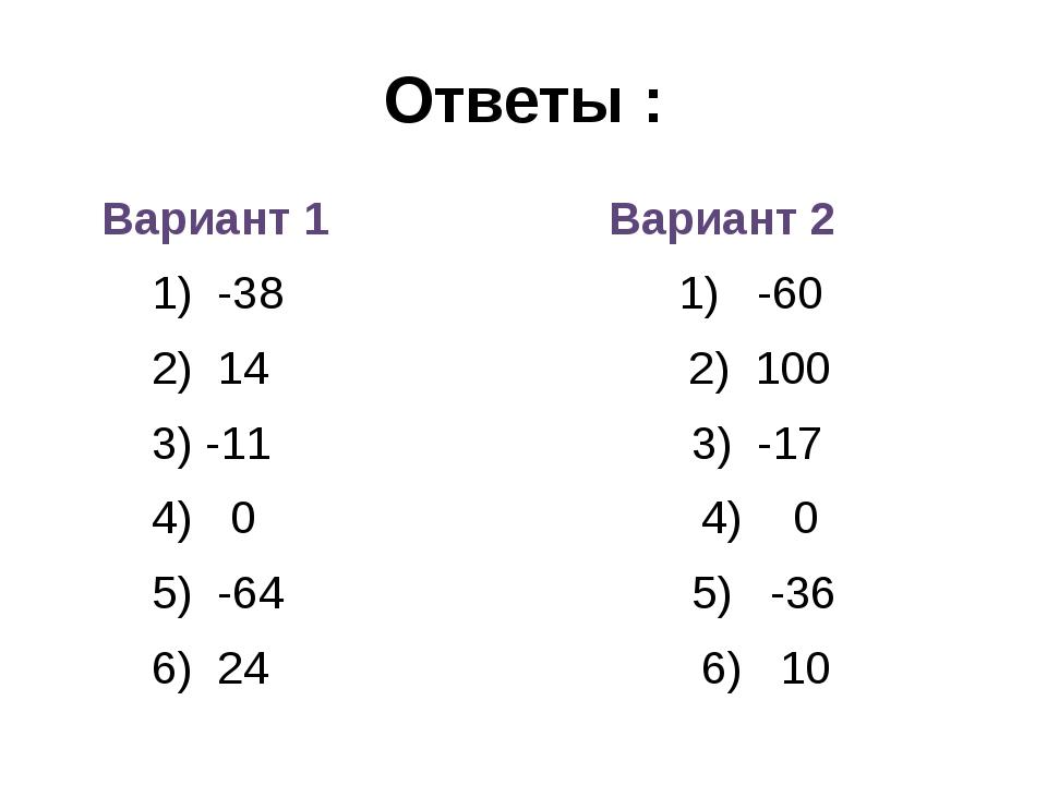 Ответы : Вариант 1 Вариант 2 1) -38 1) -60 2) 14 2) 100 3) -11 3) -17 4) 0 4)...