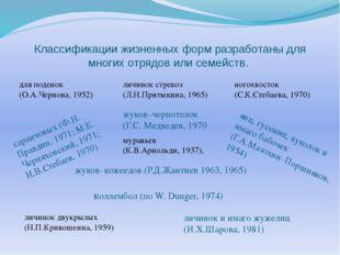 Классификации жизненных форм разработаны для многих отрядов или семейств. для