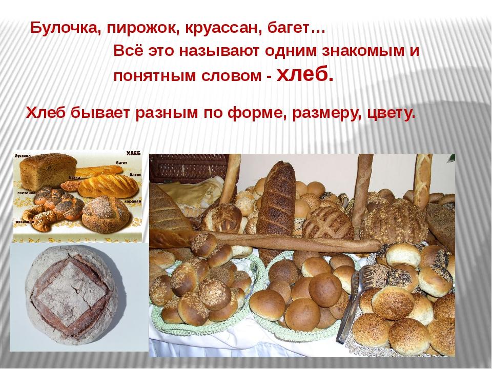 Хлеб бывает разным по форме, размеру, цвету. Всё это называют одним знакомым...