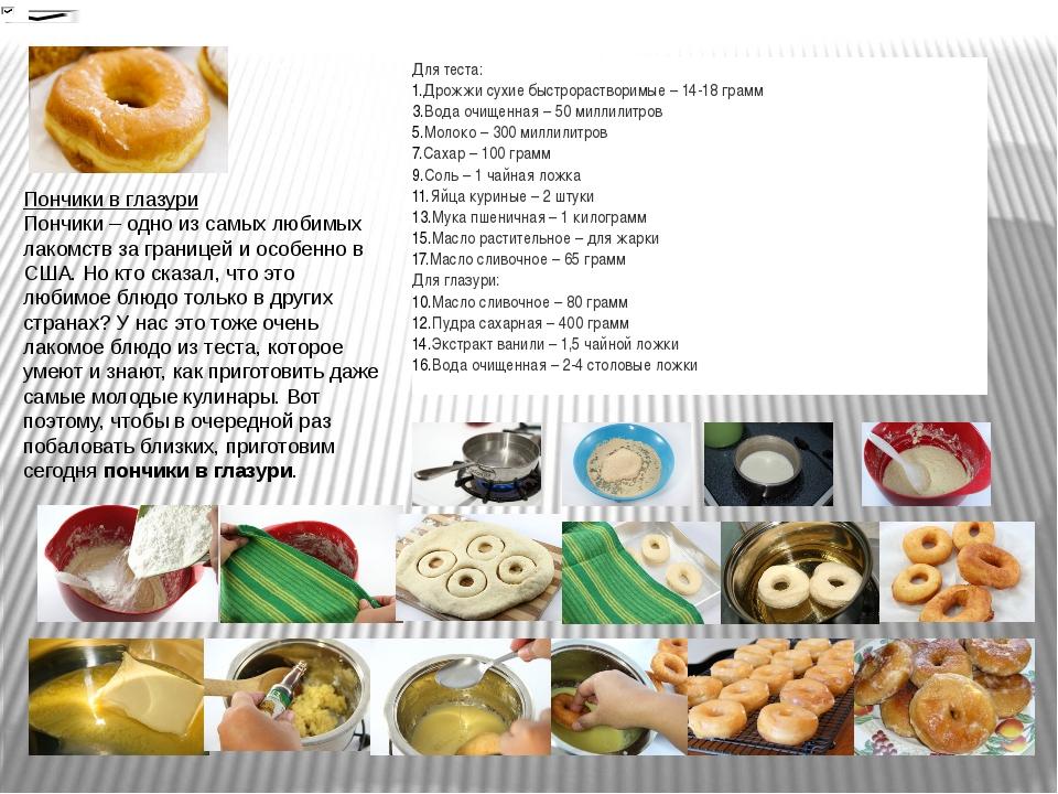 Пончики в глазури Пончики – одно из самых любимых лакомств за границей и особ...