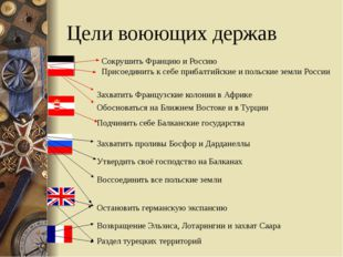 Цели воюющих держав Сокрушить Францию и Россию Присоединить к себе прибалтийс