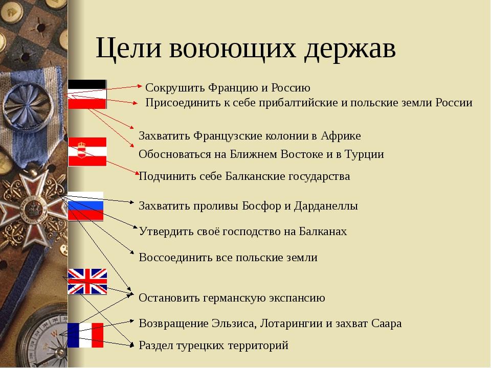 Цели воюющих держав Сокрушить Францию и Россию Присоединить к себе прибалтийс...