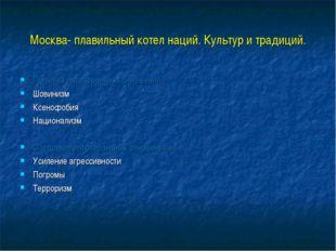 Москва- плавильный котел наций. Культур и традиций. Причины интолерантных отн