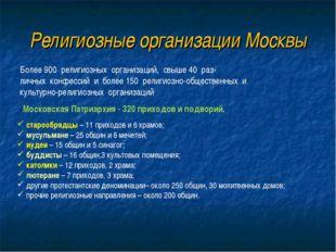 Религиозные организации Москвы Более 900 религиозных организаций, свыше 40 ра