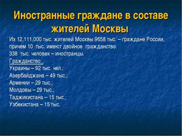 Иностранные граждане в составе жителей Москвы Из 12,111,000 тыс. жителей Моск...