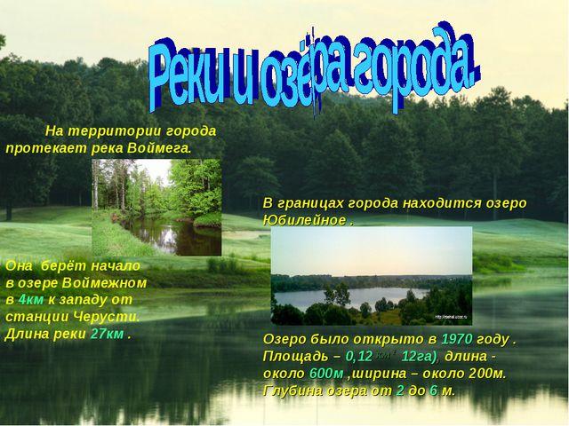 На территории города протекает река Воймега. В границах города находится озе...
