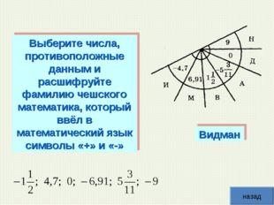 Видман Выберите числа, противоположные данным и расшифруйте фамилию чешского