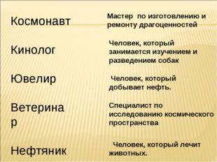Космонавт Кинолог Ювелир Ветеринар Нефтяник Мастер по изготовлению и ремонту