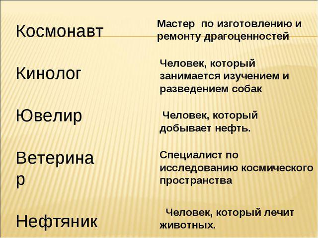 Космонавт Кинолог Ювелир Ветеринар Нефтяник Мастер по изготовлению и ремонту...