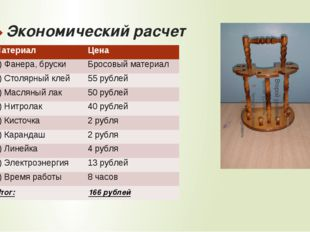 Экономический расчет Материал Цена 1) Фанера, бруски Бросовый материал 2)Стол