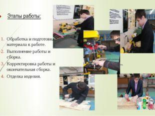 Этапы работы: Обработка и подготовка материала к работе. Выполнение работы и