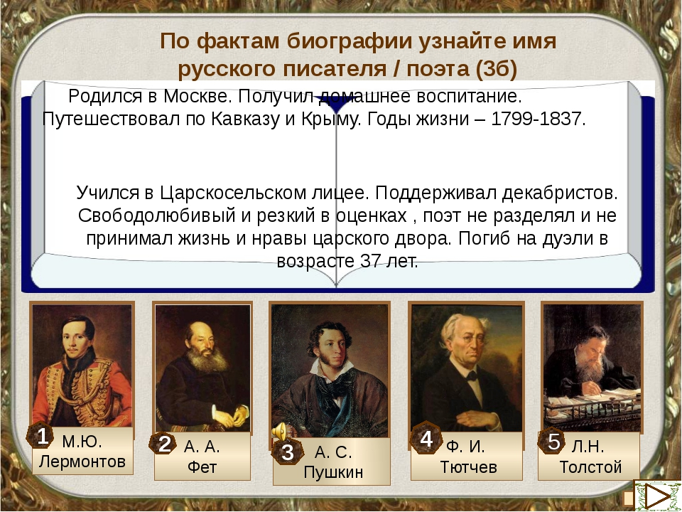 По фактам биографии узнайте имя русского писателя / поэта XIX века (маx 3б) Е...