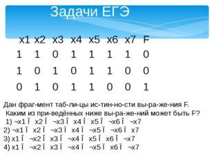 Задачи ЕГЭ Дан фрагмент таблицы истинности выражения F. Каким из пр