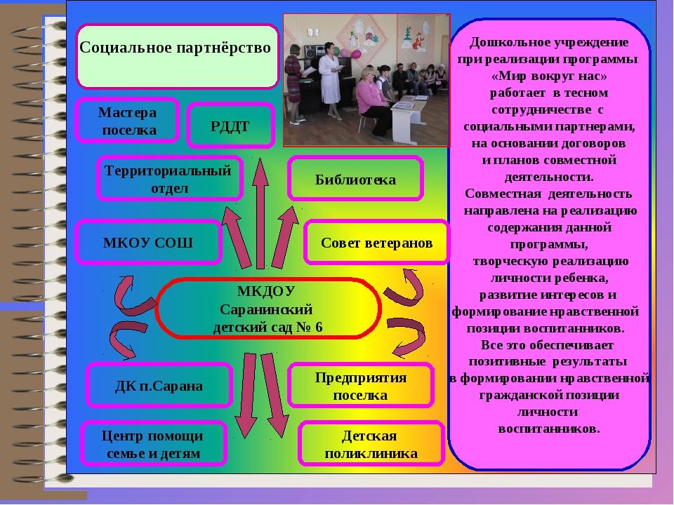 Социальное партнёрство Дошкольное учреждение при реализации программы «Мир во...